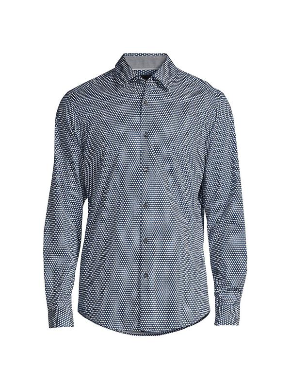 Hugo Boss Lukas Geometric-print Cotton Shirt In Navy