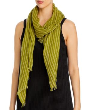 Eileen Fisher Fringe-trim Organic Cotton Scarf In Mustard Green