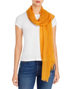 Eileen Fisher Fringe-trim Organic Cotton Scarf In Goldenrod