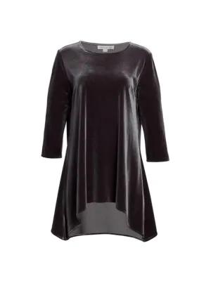 Caroline Rose Women's Stretch Velvet Draped Tunic In Gunmetal