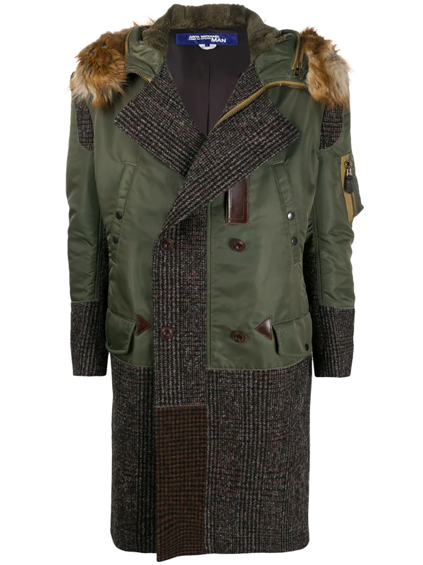 Junya Watanabe Check-panelled Technical-twill Parka In Green