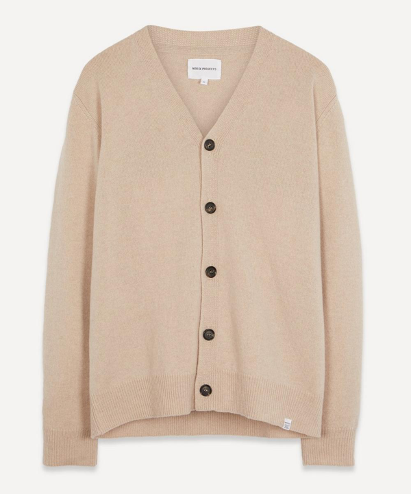 Norse Projects Adam Lambswool Cardigan In Utility Khaki