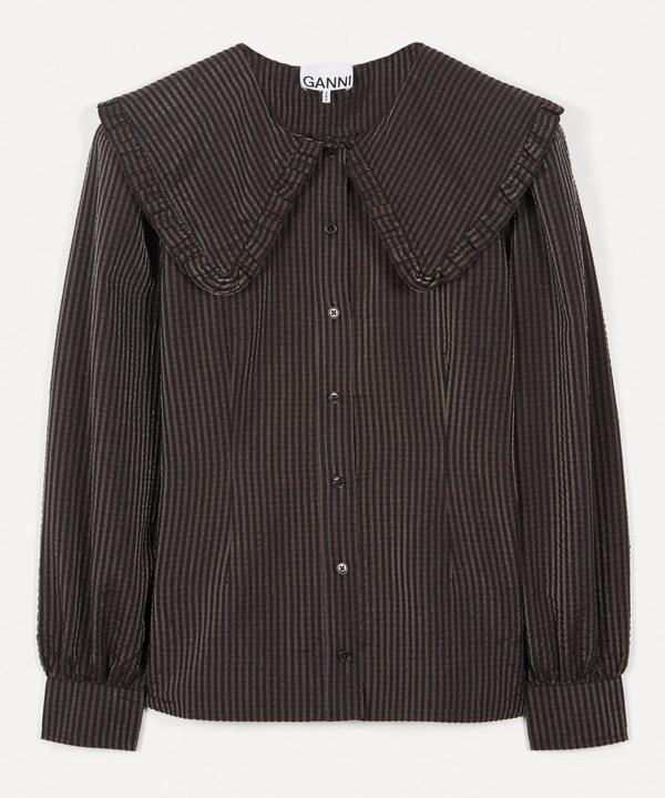 Ganni Check Seersucker Puff-sleeve Blouse In Black