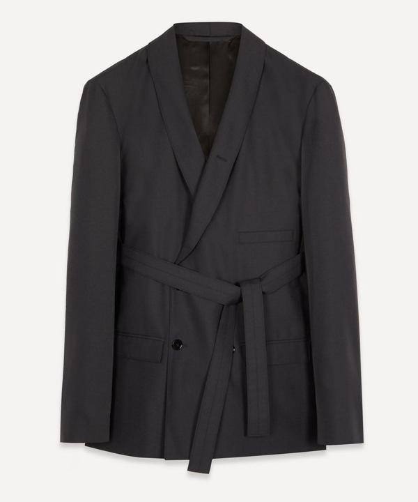 Lemaire Belted Double-breasted Jacket In Antracite
