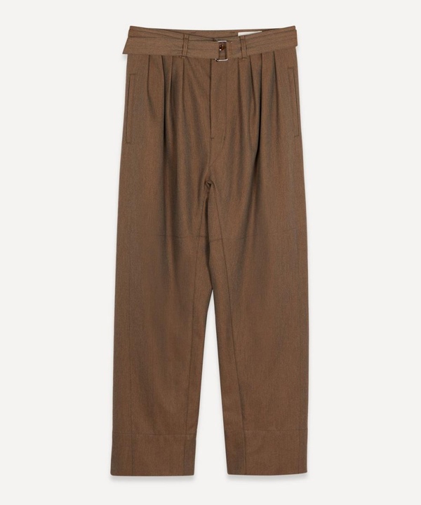 Lemaire Four Pleat Belted Trousers In Ocre Brown