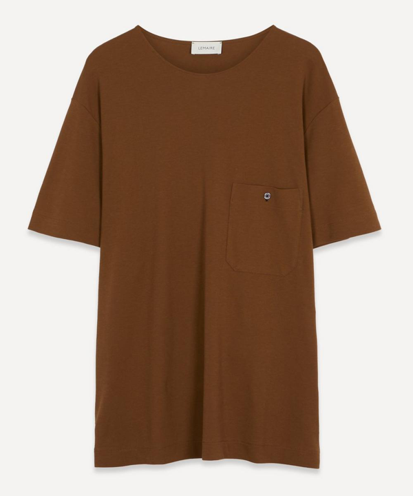 Lemaire Crepe Chinese T-shirt In Dark Earth