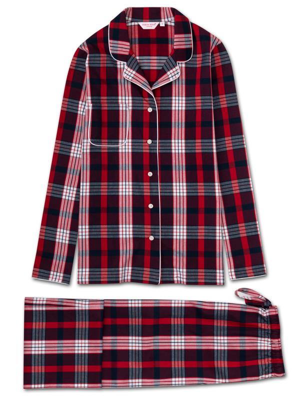 Derek Rose Women's Pyjamas Ranga 40 Brushed Cotton Check Red