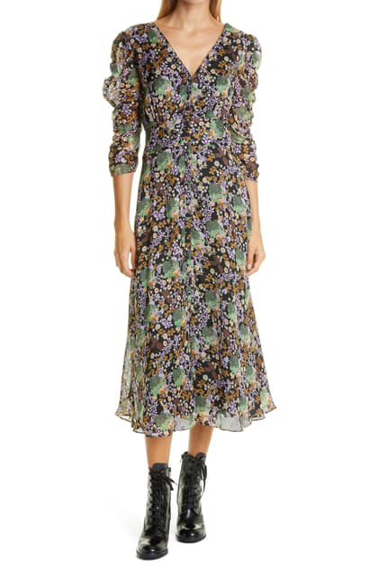Bytimo Floral Organza Ruched Dress In Camouflage