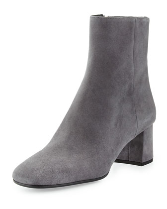 Prada Suede Block-Heel 55Mm Boot, Moro In Dark Gray