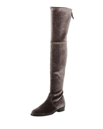 Stuart Weitzman Lowland Velvet Over-The-Knee Boot In Nero