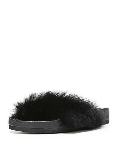 39c6d731bd032f Vince Women. VINCE. Women s Garrison Leather And Fur Pool Slide Sandals in  Black