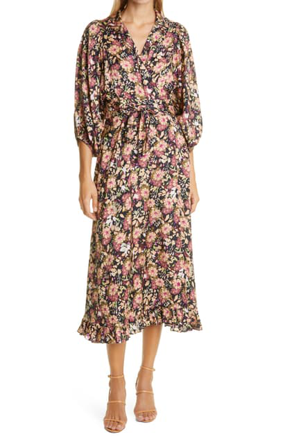 Bytimo Floral Print Wrap Midi Dress In Field