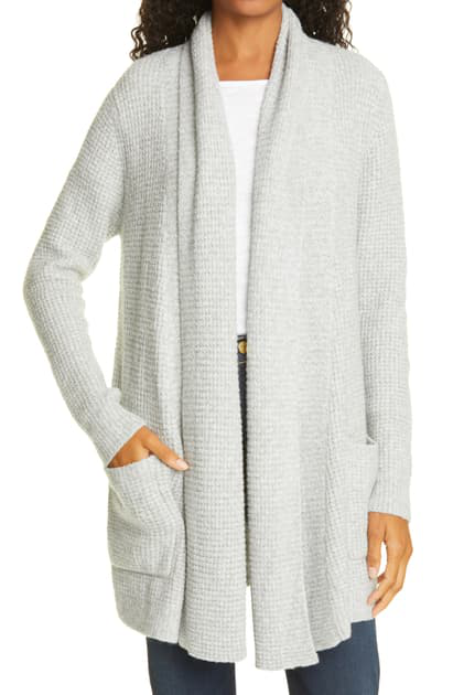 Line Novah Thermal Knit Cotton & Cashmere Blend Cardigan In Heather Grey- 0003