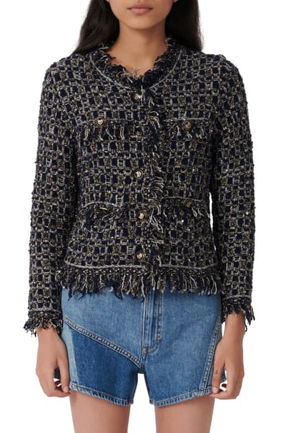 Maje Mimir Fancy Lurex Knit Tweed Cardigan In Navy