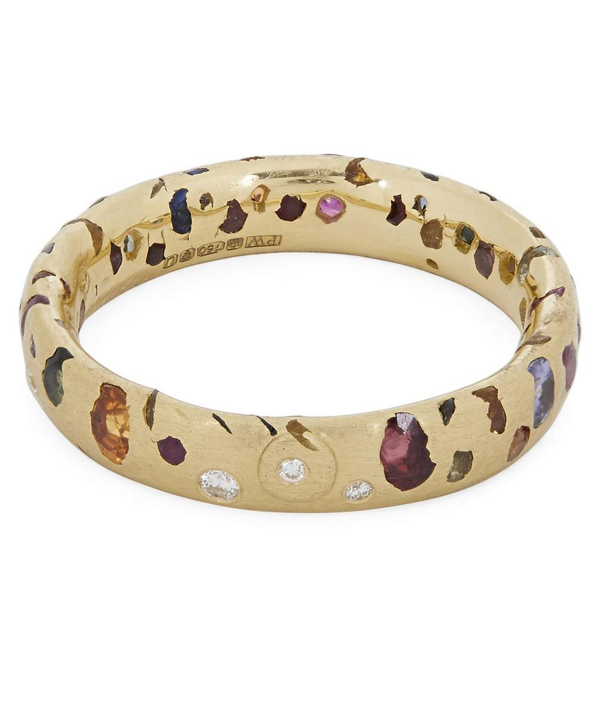Polly Wales Gold Rainbow Sapphire And Diamond Confetti Ring