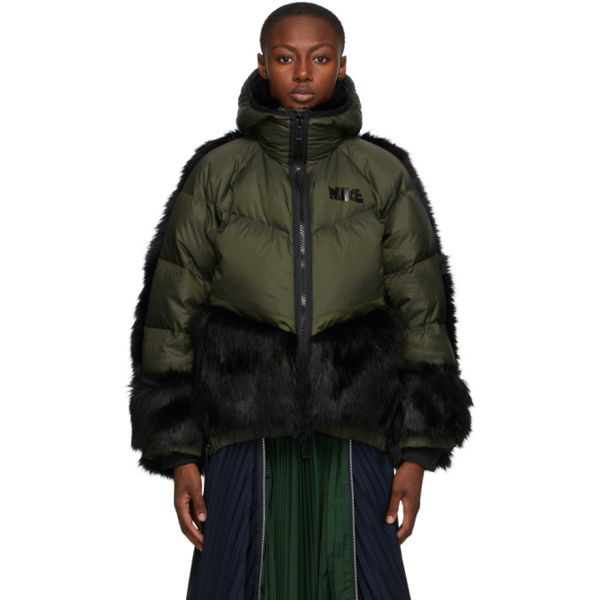 Nike + Sacai Nrg Oversized Hooded Faux Fur And Quilted Shell Down Jacket In 355 Seqouia