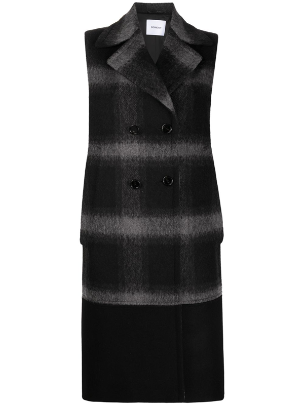 Dondup Sleeveless Double Breasted Coat In Black