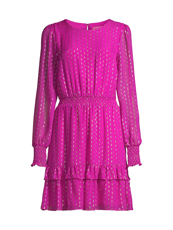 Lilly Pulitzer Women's Dotti Lurex Dress In Bordeaux Berry Rainbow Metallic Clip