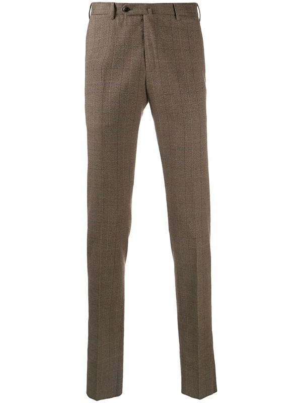 Pt01 Checked Slim-fit Trousers In Brown
