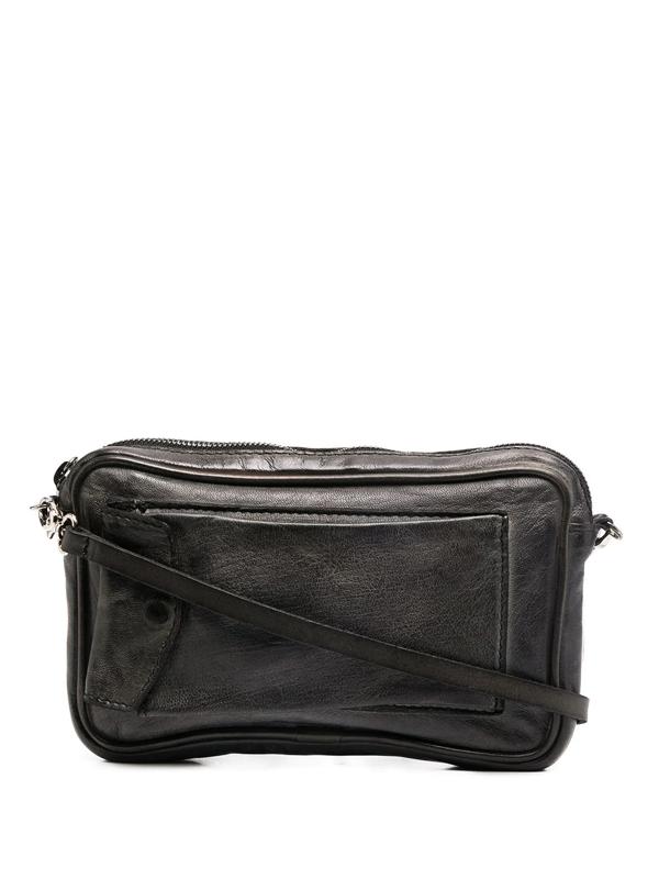 Numero 10 Zip-up Leather Mini Bag In Grey