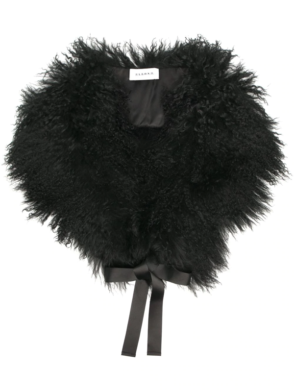 P.a.r.o.s.h. Fur Removable Collar In Black