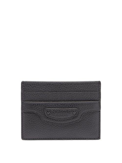 Balenciaga Neo Classic Grained-leather Cardholder In Black