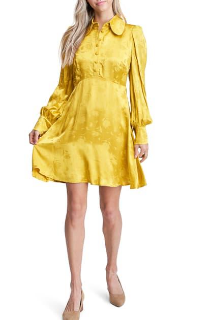 En Saison Satin Jacquard Long Sleeve Minidress In Yellow