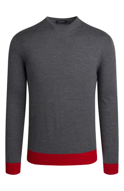 Bugatchi Mock Neck Merino Wool Sweater In Graphite