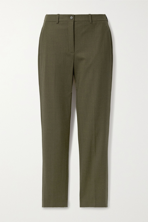 Michael Kors Samantha Wool-blend Slim-leg Pants In Army Green