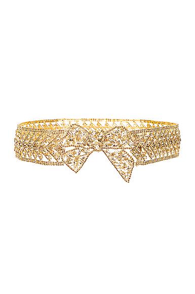 Raisa Vanessa Ribbon Crystal Belt In Gold