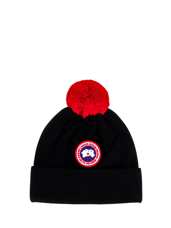 Canada Goose Kids Beanie Kids Merino Pom Toque For For Boys And... In Black