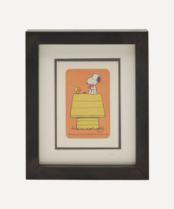 Vintage Playing Cards Snoopy Kennel Vintage Framed Playing Card In Yellow