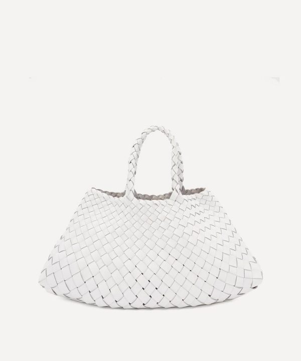 Dragon Diffusion Small Santa Croce Woven Leather Tote Bag In White