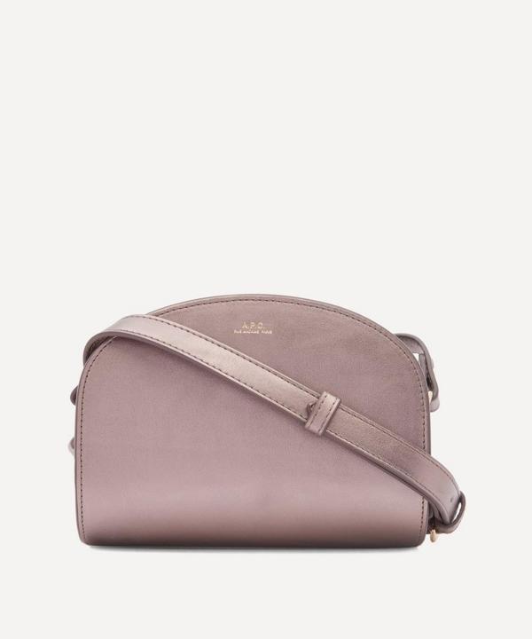 A.p.c. Mini Leather Demi-lune Bag In Marron Glace