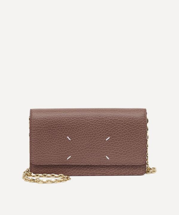Maison Margiela Leather Chain Wallet In Bois De Rose