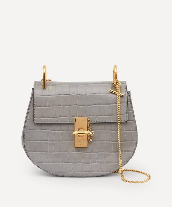 Chloé Drew Leather Shoulder Bag In Stormy Grey