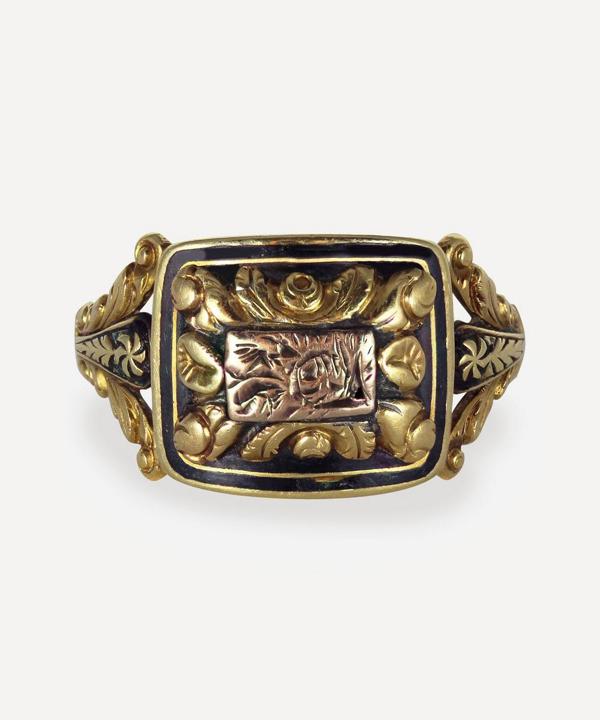 Kojis Gold Georgian Enamel Memorial Ring