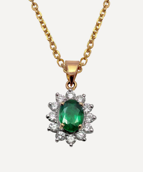 Kojis Gold Emerald And Diamond Cluster Pendant Necklace