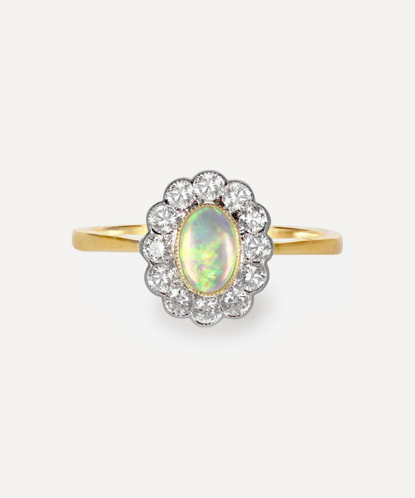 Kojis Gold Opal And Diamond Cluster Ring