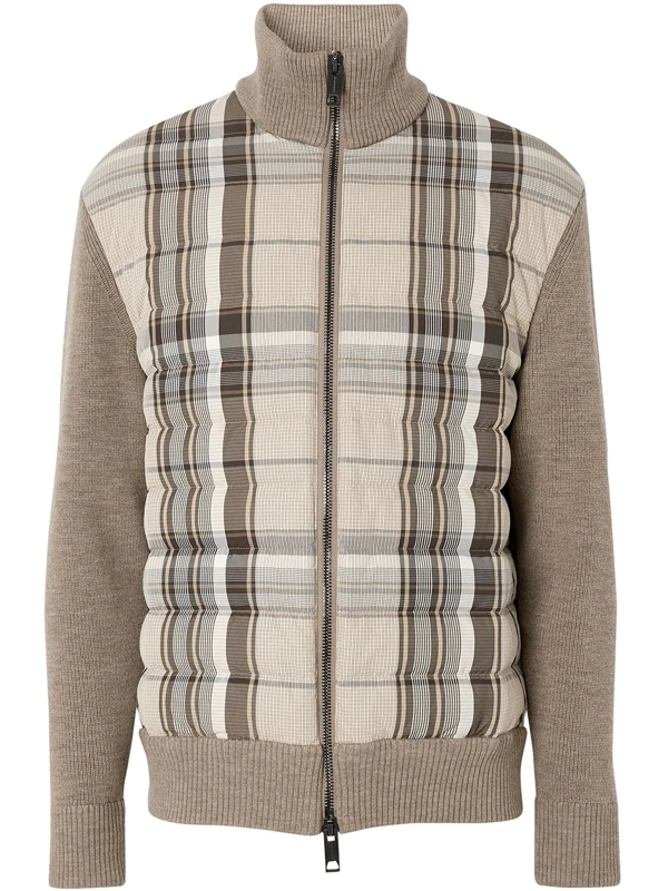 Burberry Check Puffer Knitted Jacket In Brown