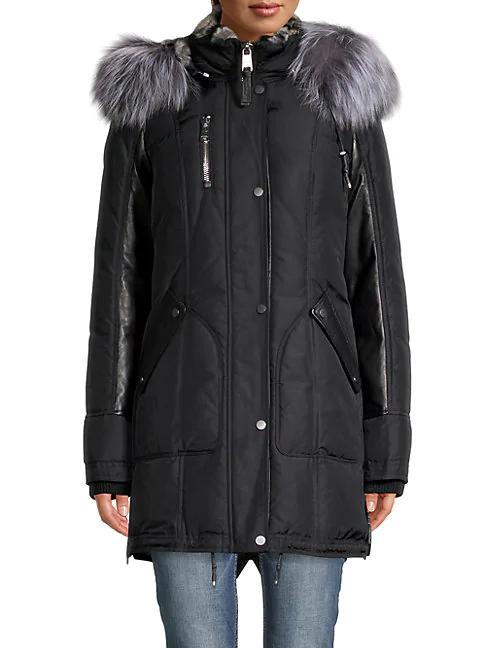 Nicole Benisti Women's Chelsea Rabbit & Fox Fur Down Parka Coat In Black