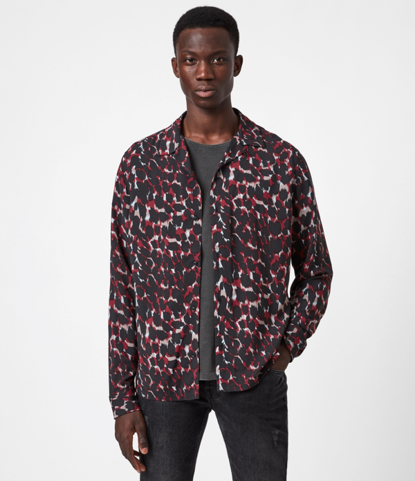 Allsaints Jackson Print Button-up Shirt In Red