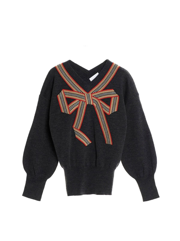 Burberry Kids' Striped Ribbon Pullover In Grey