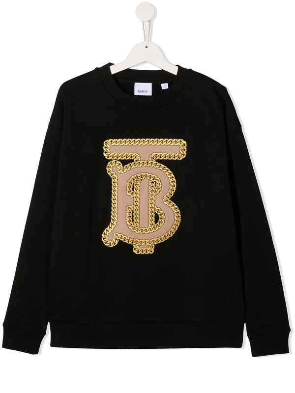 Burberry Kids' Embroidered Chain-link Logo Jumper In Black