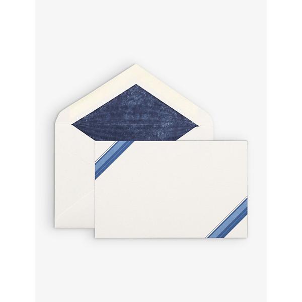 Smythson Diagonal-stripe Correspondence Cards Box Of 10 In White