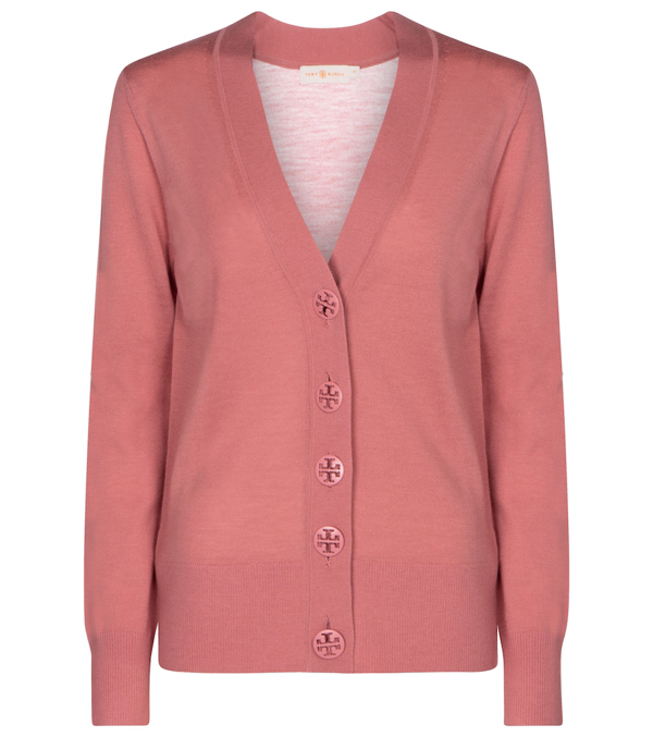 Tory Burch Women's Merino Wool Button-up Cardigan In Rosewood