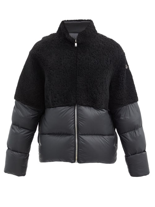 Moncler Coyote Shearling And Quilted Down Jacket In Black