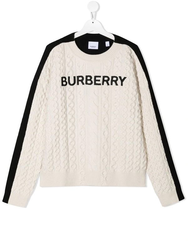 Burberry Kids' Chunky Cable Knit Jumper In Black