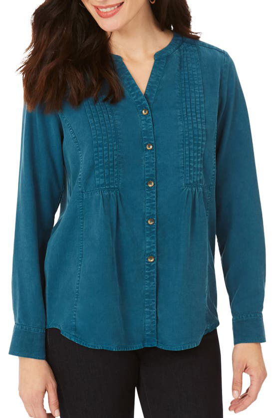Foxcroft Kira Pintucked Shirt In Alpine
