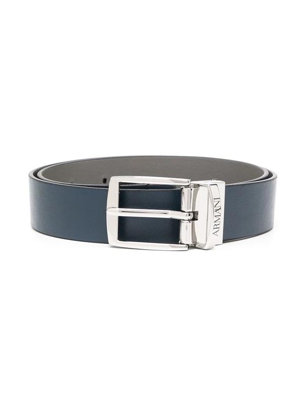 Emporio Armani Teen Buckled Grained-effect Belt In Black